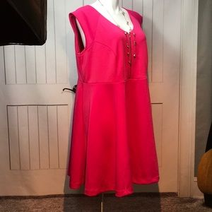BOUTIQUE + HOT PINK KNEE LENGTH DRESS 2X